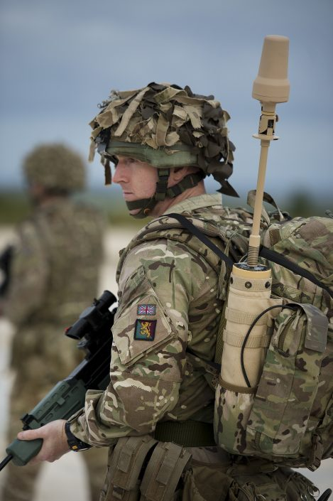 A British Soldier equipped with the SlingShot Manpack system for BLOS COTM